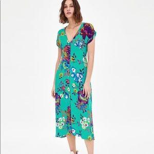 Zara Green Floral Midi Dress